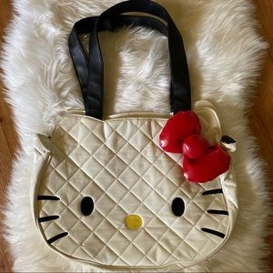 HELLO KITTY WHITE QUILTED FACE TOTE BAG PURSE